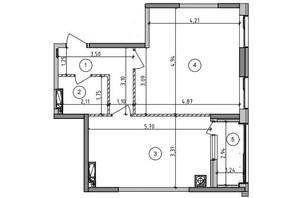 ЖК Оптимісто: планировка 1-комнатной квартиры 54.86 м²