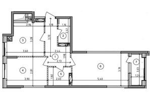 ЖК Оптимісто: планировка 2-комнатной квартиры 57 м²