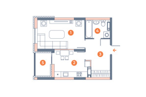 ЖК Orange City: планировка 1-комнатной квартиры 39.47 м²
