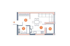ЖК Orange City: планування 1-кімнатної квартири 29.36 м²