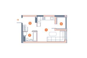 ЖК Orange City: планування 1-кімнатної квартири 29.42 м²