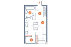 ЖК Orange City: планування 1-кімнатної квартири 31.09 м²