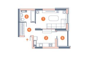 ЖК Orange City: планування 1-кімнатної квартири 35.46 м²