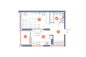 ЖК Orange City: планування 1-кімнатної квартири 39.21 м²