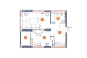 ЖК Orange City: планування 1-кімнатної квартири 39.47 м²