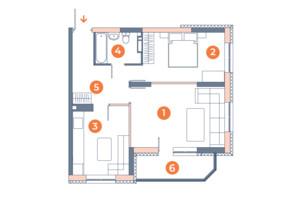 ЖК Orange City: планування 2-кімнатної квартири 53.42 м²