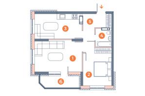 ЖК Orange City: планування 2-кімнатної квартири 54.51 м²