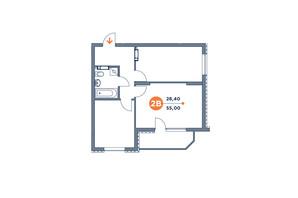 ЖК Orange City: планування 2-кімнатної квартири 55.86 м²