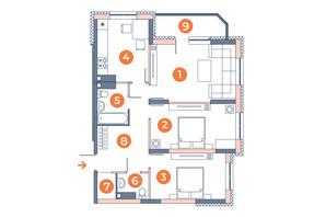 ЖК Orange City: планування 3-кімнатної квартири 74.28 м²