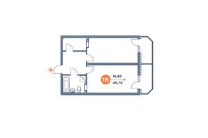 ЖК Orange City: планування 1-кімнатної квартири 47.53 м²