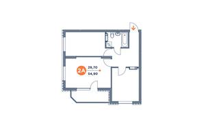 ЖК Orange City: планування 2-кімнатної квартири 53.24 м²