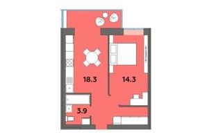 ЖК Orange City: планировка 1-комнатной квартиры 42.7 м²