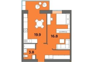 ЖК Orange City: планировка 1-комнатной квартиры 45.7 м²
