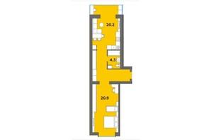 ЖК Orange City: планировка 1-комнатной квартиры 54.8 м²