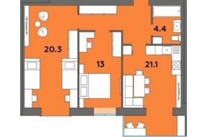 ЖК Orange City: планування 2-кімнатної квартири 66.4 м²