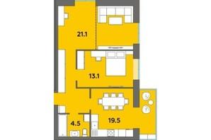 ЖК Orange City: планування 2-кімнатної квартири 67.6 м²