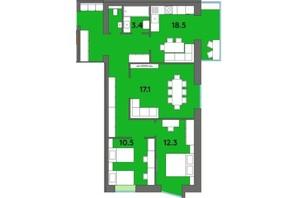 ЖК Orange City: планировка 3-комнатной квартиры 85.8 м²