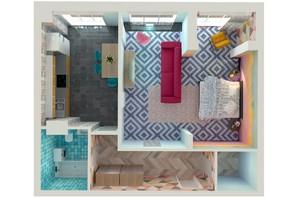ЖК Orange Park: планування 1-кімнатної квартири 49.46 м²
