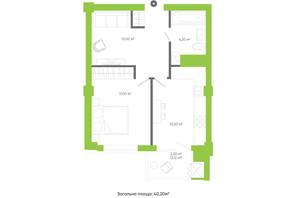 ЖК Оселя парк: планування 1-кімнатної квартири 40.2 м²