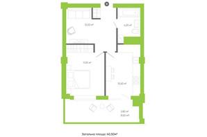 ЖК Оселя парк: планування 1-кімнатної квартири 40.5 м²