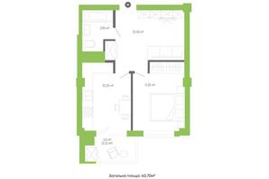 ЖК Оселя парк: планування 1-кімнатної квартири 40.7 м²