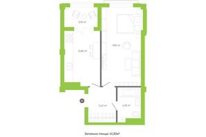 ЖК Оселя парк: планування 1-кімнатної квартири 41.3 м²