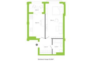 ЖК Оселя парк: планування 1-кімнатної квартири 41.4 м²