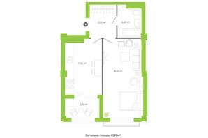 ЖК Оселя парк: планування 1-кімнатної квартири 41.9 м²