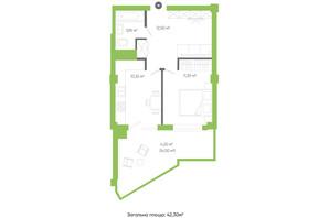 ЖК Оселя парк: планування 1-кімнатної квартири 42.3 м²