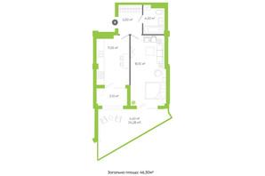 ЖК Оселя парк: планування 1-кімнатної квартири 46.3 м²