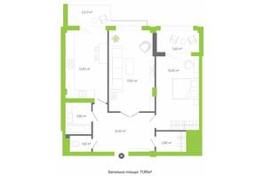 ЖК Оселя парк: планировка 2-комнатной квартиры 71.9 м²