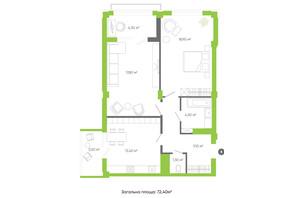 ЖК Оселя парк: планировка 2-комнатной квартиры 72.4 м²