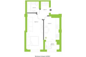ЖК Оселя парк: планування 1-кімнатної квартири 42 м²