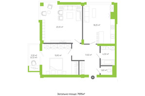 ЖК Оселя парк: планировка 2-комнатной квартиры 79.95 м²