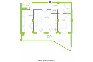 ЖК Оселя парк: планування 3-кімнатної квартири 85.4 м²