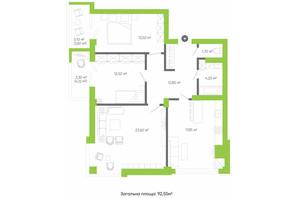 ЖК Оселя парк: планування 3-кімнатної квартири 92.55 м²
