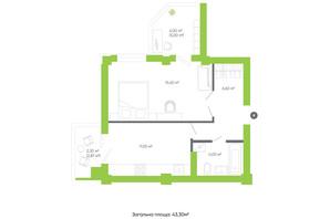 ЖК Оселя парк: планування 1-кімнатної квартири 43.3 м²