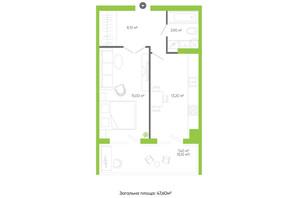 ЖК Оселя парк: планування 1-кімнатної квартири 47.6 м²