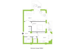 ЖК Оселя парк: планировка 2-комнатной квартиры 57.2 м²