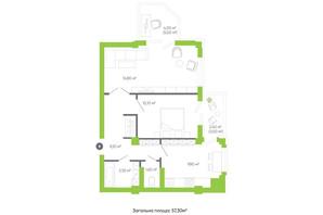 ЖК Оселя парк: планировка 2-комнатной квартиры 57.3 м²