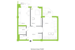 ЖК Оселя парк: планировка 2-комнатной квартиры 72.2 м²