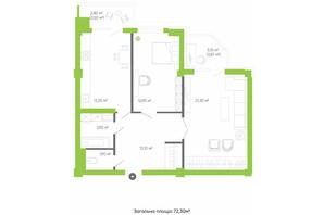 ЖК Оселя парк: планировка 2-комнатной квартиры 72.3 м²