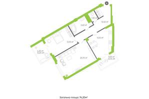 ЖК Оселя парк: планировка 2-комнатной квартиры 74.2 м²