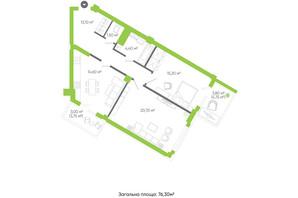 ЖК Оселя парк: планировка 2-комнатной квартиры 76.3 м²