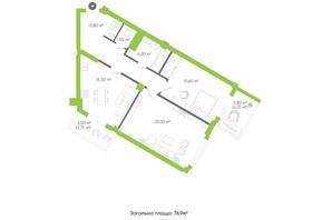 ЖК Оселя парк: планировка 2-комнатной квартиры 76.9 м²
