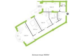 ЖК Оселя парк: планировка 3-комнатной квартиры 100.9 м²