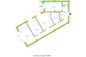 ЖК Оселя парк: планировка 3-комнатной квартиры 101 м²