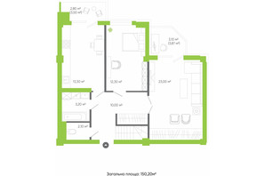 ЖК Оселя парк: планировка 4-комнатной квартиры 150.2 м²