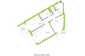 ЖК Оселя парк: планировка 2-комнатной квартиры 73.5 м²