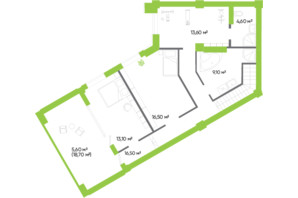 ЖК Оселя парк: планировка 4-комнатной квартиры 178.9 м²